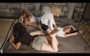 Three for one. Part 1. Leya and her girlfriends torture their new friend Dana